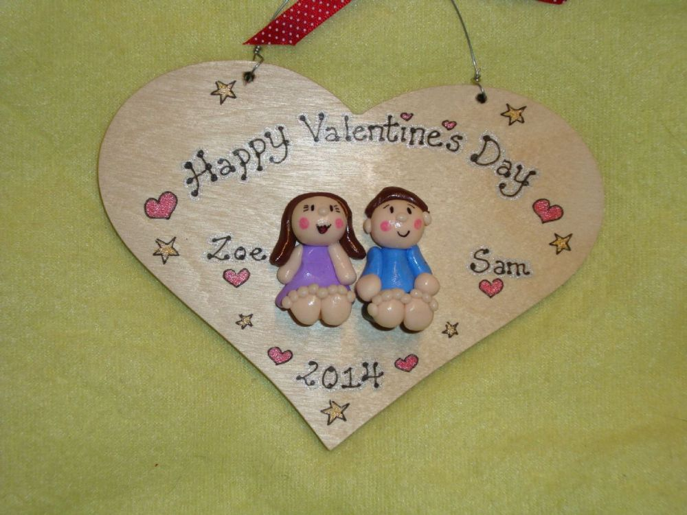 2 character 3d Valentine's Day Wedding Anniversary Personalised 3d Heart shaped wooden Sign Personalised to Order Handmade Unique Keepsake Gift